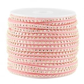 Suède imi stress goud bright strawberry pink 3mm
