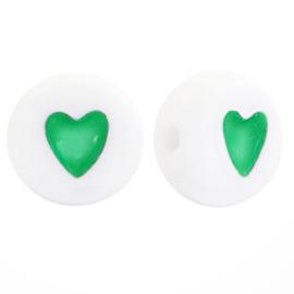 Letterkralen van acryl hartjes Groen-Wit