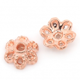 Flower beads rose gold