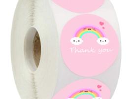 Sticker ''thank you'' rainbow pink