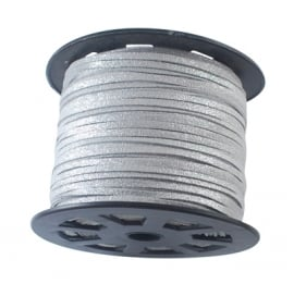 Suede cord silver shine 3mm