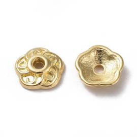 Kralenkapje bloem 9mm goud