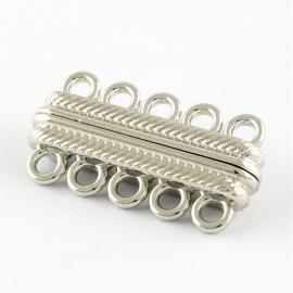 Magneetsluiting 5 ogen zilver