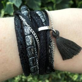 Inspiratie armband 'wrap black'