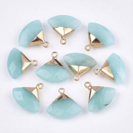 Bedel facet gemstone jade aquamarine triangle gold