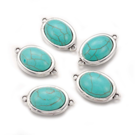 Tussenzetsel turquoise zilver