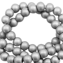 Glaskralen opaque silver 8mm