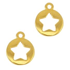 DQ metalen bedels rond met ster Goud (nikkelvrij)