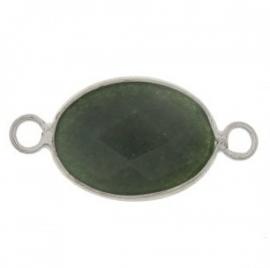 Connector jade facette grün silber