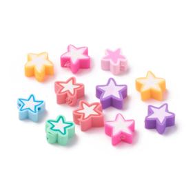 Polymeer kralen sterren Multicolour mix
