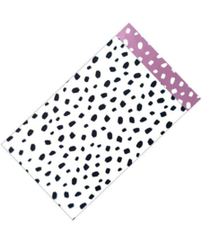 Cadeauzakjes Dots wit/zwart - lila 12x19cm