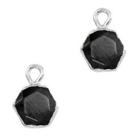 Natuursteen hangers hexagon Black-silver
