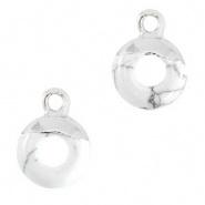 Natuursteen hangers cirkel 10mm Marble white-silver