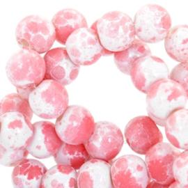Glasperlen gemêleerd white-coral pink 6mm
