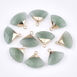 Bedel facet gemstone aventurine triangle green gold