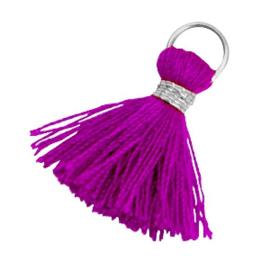 Kwastjes Ibiza style 1.8cm Zilver-violet purple