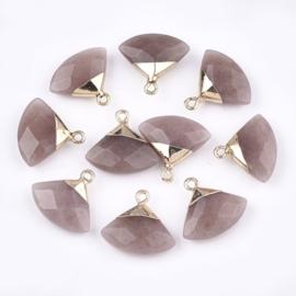 Bedel facet gemstone quartz strawberry triangle gold