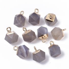 Bedel facet gemstone agate grey gold