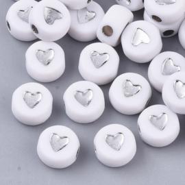 Letterkralen van acryl hartjes White-silver