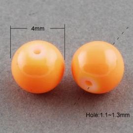 Glasperlen baked bright orange 4mm
