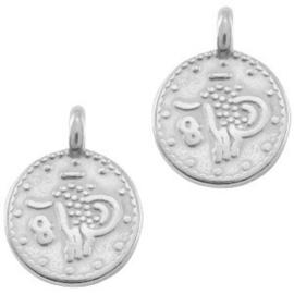Bedel DQ ethnic rond 12mm Antiek zilver (nikkelvrij)