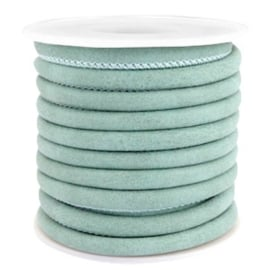 Gestikt leer imi 5x4mm Antique turquoise mint blue