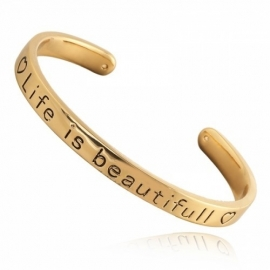 Quote armbänd 'life is beautiful' gold