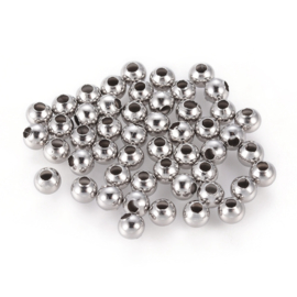 Metalen RVS kralen zilver 4mm