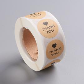 Sticker ''thank you'' rond zwart kraft rol