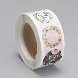 Sticker ''thank you'' round floral rol