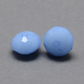 Acrylic beads facet cornflower blue 8x6mm