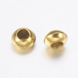 Kraal metaal rondelle 5x2mm goud
