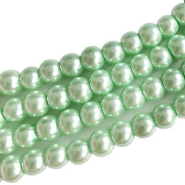 Glasperlen pearl baked pale green 6mm