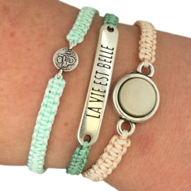 Armbandje ''geluksmuntje'' - mint & zilver