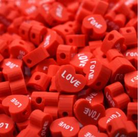 Polymeer kralen hart love rood