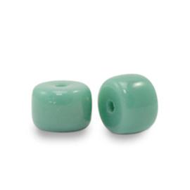 Rondellen glaskralen 6mm Malachite green