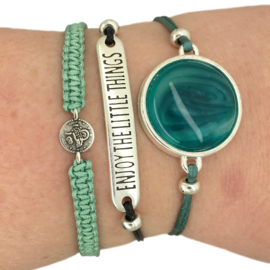 Armbandje ''geluksmuntje'' - seagreen & zilver