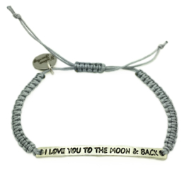 Armbandje ''i love you to the moon & back'' -  zilver