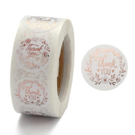 Sticker thanks rose goud rol