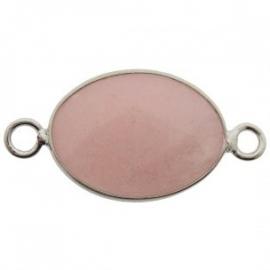 Tussenzetsel jade facet roze zilver