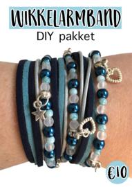 Wikkelarmband DIY pakket blauw