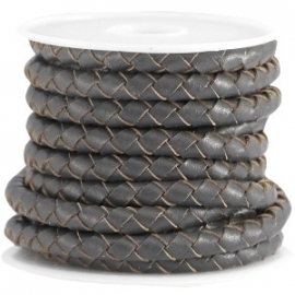 Braided leather 5mm antraciet grey (DQ)
