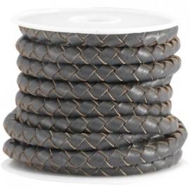 Braided leder 5mm antraciet grey (DQ)
