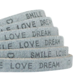 """Leder """"smile love dream"""" grey 5mm (DQ)"""