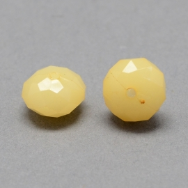 Acrylic beads facet light khaki 8x6mm