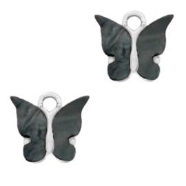 Bedel vlinder zwart zilver