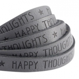 Plat imitatieleer cool grey 'happy thoughts'