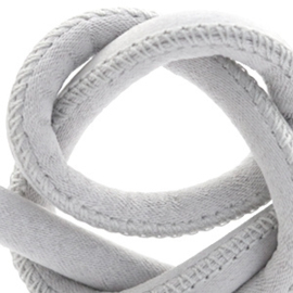 Trendy gestikt koord silk style 6x4mm Licht grijs