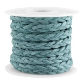 Braided imitation suede teal blue