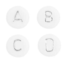Letterkralen van acryl mix Wit-zilver